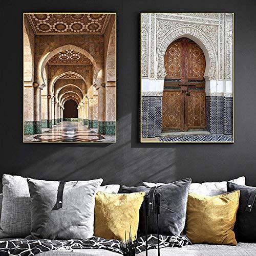 FA LEMON Gebäude Bild Drucken Vintage Marokko Tür Kunst Poster Nordic Leinwand Gemälde Wall Decor-50x70cmx2 Stück kein Rahmen