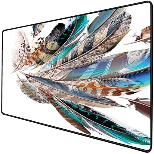Mouse Pad Gaming Funcional Decoracion de plumas Alfombrilla de ratón gruesa impermeable para escritorio Vaned Types y Natal Contour Flight Feathers Estampado de elementos de piel animal,Teal Brown, Ba