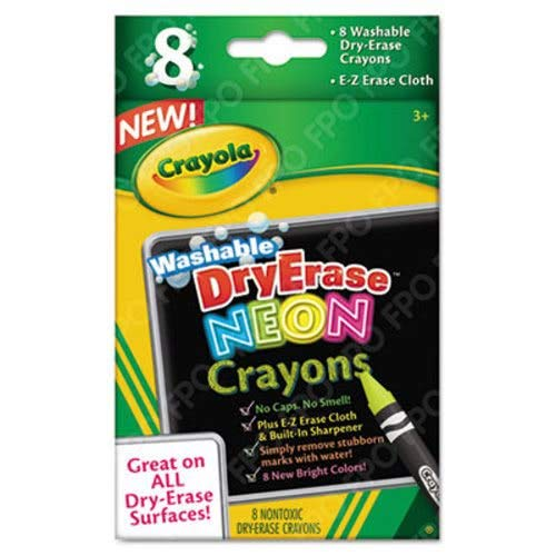 Washable Dry Erase Crayons w/E-Z Erase Cloth, Assorted Neon Colors, 8/Pack, Sold as 1 Set