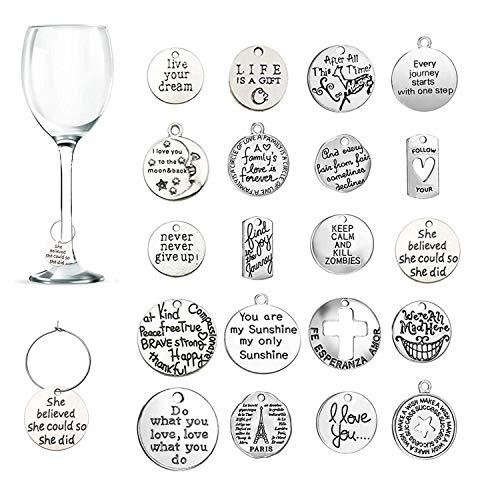 20 Stück Weinglas Anhänger Charms, CNYMANY Inspirationstext Kelch Trinken Marker Tags mit Schnallendesign für Wein Cocktail Champagner-Verkostungsparty Gefälligkeiten Dekorationsbedarf Geschenke
