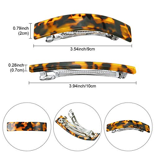 14 Pieces Acetate Hair Barrettes Skinny French Barrettes Tortoise Shell Automatic Hair Clips French Rectangle Barrette for Woman Ladies Fine Medium Thick Hair Supplies (Retro Agate)