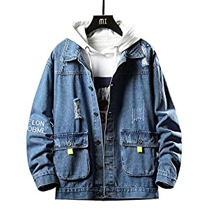 kiden デニムジャケット メンズ ジャケット Gジャン アウター ファッション カジュアル おしゃれ トップス コート ブルゾン 春秋 おおきいサイズ 上着 深蓝 XL