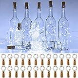 Onforu Luz Botella LED (24 Pack), 2m 20 LEDs Luz de Corcho Impermeable IP67, Guirnaldas LED Pilas (Incluidas) Luminosas de Vino, 6000K Blanco Frío DIY Decoración Interior para Navidad Fiesta Boda