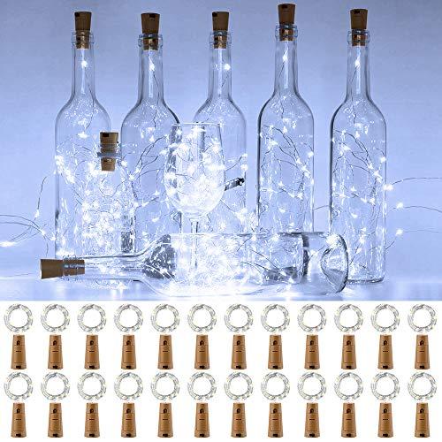 Onforu 24 Stück Flaschenlicht mit Korken, Flasche Lichterkette Batterie 2M 20LEDs, IP67 Wasserdicht Korkenlichterkette, 6000K Kaltweiß Weinflaschenlicht für Glas DIY Deko Party Garten Hochzeit