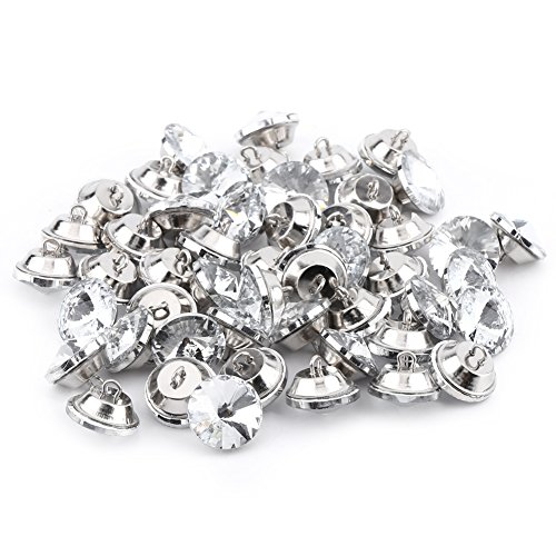 50pcs Crystal Upholstery Buttons,Sparkly Rhinestone Round Tacks Clear Buttons with Metal Loop for Sofa Headboard and Wall Decor (25mm)