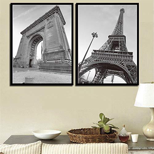 MYSY Cuadros de Arte de Pared sobre Lienzo Torre de París Famosa Arco de Triunfo Pintura de Paisaje Impresión de póster Decoración para el hogar-50x70cmx2 Piezas sin Marco