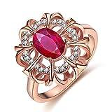 Aozuo Moda Anillo De Marea Flor Creativa 18K Oro Rosa con Piedras Preciosas Anillo De La Señora,A