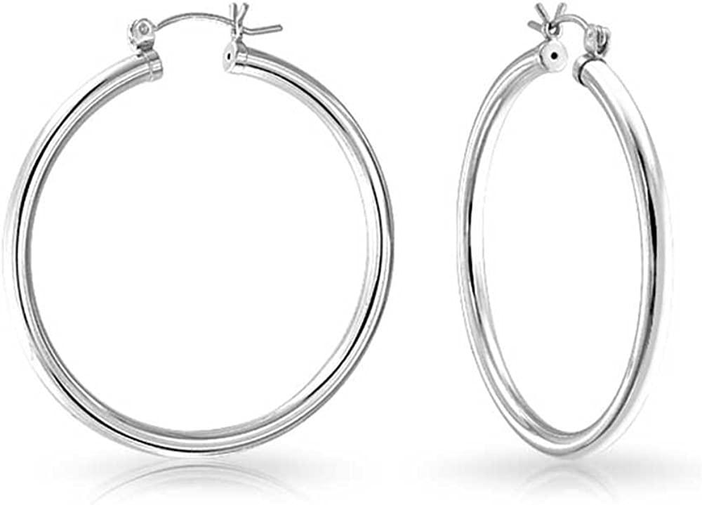 SEMAID Women 925 Sterling Silver Earring Classic Polished Round Circle Hoop 20mm