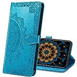 MRSTER Motorola One Hyper Hülle, Premium Leder Tasche Flip Wallet Hülle [Standfunktion] [Kartenfächern] PU-Leder Schutzhülle Brieftasche Handyhülle für Motorola One Hyper. SD Mandala Blue