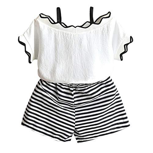 YUAN YUAN Kleinkind Kinder Baby Mädchen Outfits Kleidung T-Shirt Tops + Streifen Shorts Hose Set