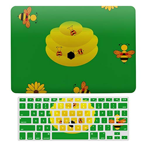 For MacBook Air 13 Case A1466、A1369, Plastic Hard Shell Case & Keyboard Cover Compatible with MacBook Air 13, Bees' Hive Laptop Protective Shell Set