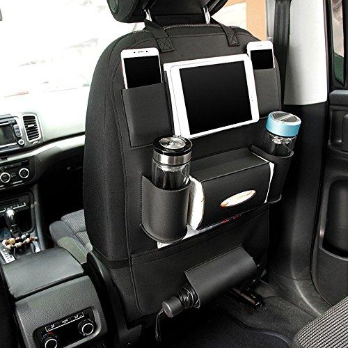 Pu Lederen Car Seat Back Organizer en iPad mini Houder, Universeel Gebruik als Auto Backseat Organizer voor Kinderen, Opbergflessen, Tissue Box, Speelgoed (BLACK, 1 pack)
