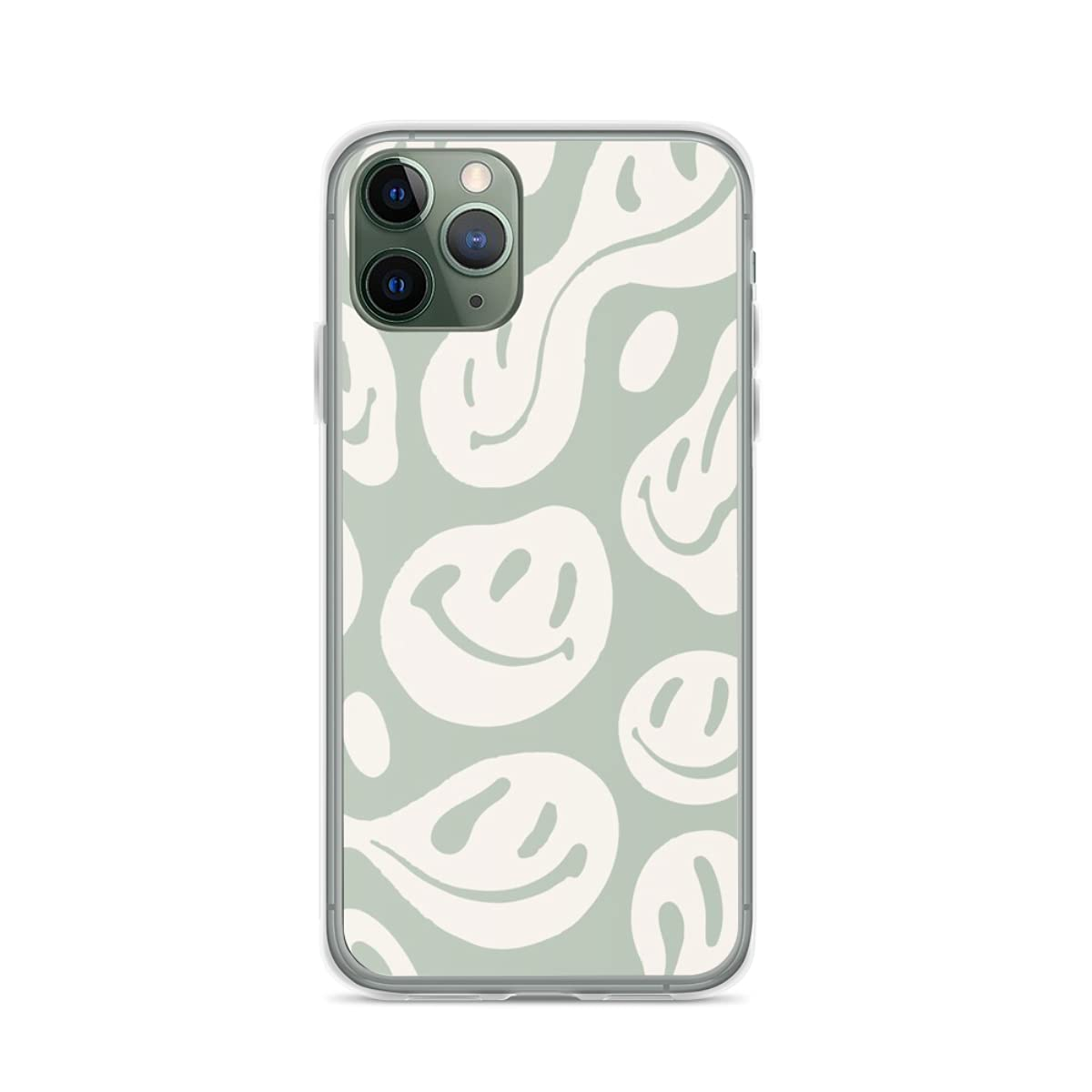 Phone Case Liquid Smiley Sage Green Compatible with iPhone 12 11 X Xs Xr 8 7 6 6s Plus Mini Pro Max Samsung Galaxy Note S9 S10 S20 Ultra Plus