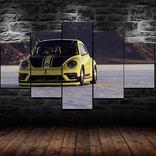 WANGZHONG -5 Panel Wall Art Schilderij Kever LSR Rally Print Op Canvas Het Foto voor Thuis Moderne Decoratie Stuk, Uitgerekt door Houten Frame, Klaar om op te hangen, (60 W X 32 H)