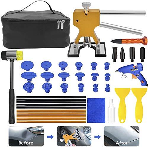 MENQANG Dent Repair Kit Werkzeuge, Body Dents Remover Kit 43 pcs Repair Tools Dellen Repair Tool Dellen Repair Pen und Gummihammer (Golden Plus Hammer)