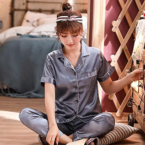 Pijama Conjuntos De Pijama Pijama De Seda Sintética Sexy Ropa De Dormir De Satén Pijama De Verano De Gran Tamaño para Mujer Pijama De Manga Corta para Dormir para Mujer XXXL 9-Yh