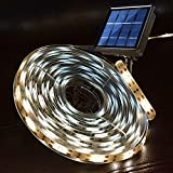 Windpnn Led Strip Lights Solar Waterproof Flexible Tape Lights, 19.8Ft 180Led 8 Modes Self-Adhesive Cuttable Strip Lights for Outdoor Eating Porch Pergola Gardens Patio Christmas Decor(Warm White)