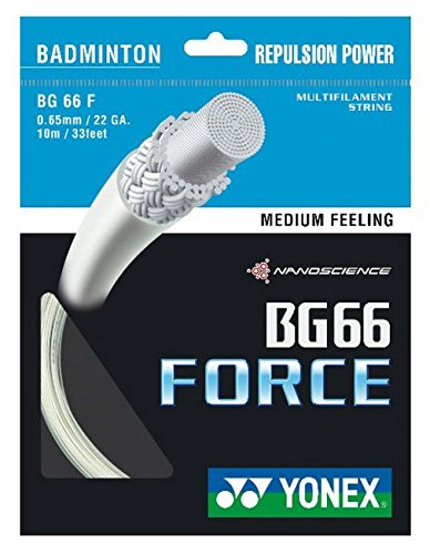 YONEX BG66 Force Badmintonsaite, Weiß, Einheitsgröße