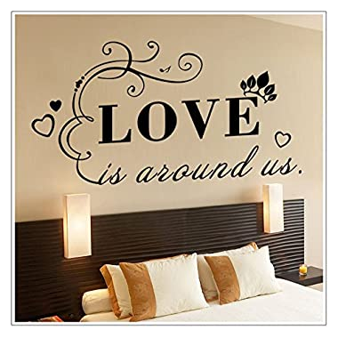 YJG Love is Always Us Wall Art Sayings Sticker Décor Decal Prayer Church Jesus Pray, Family Letter Quote Removable Vinyl Decal Art Mural Home Decor Wall Stickers