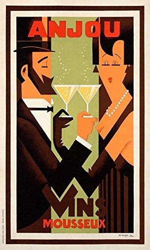 Feeling at home Lienzo-con-AMERICANO-CAJA-Anjou-Vins-Amoro-H.-Fashion-Fine-Art-impresión-en marco de madera-Vertical-48x29_in