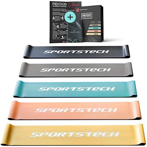 Sportstech Fitnessbänder 5er Loop Set | Fitness Band inkl. Tasche + Poster für Sport zuhause ohne Gewichte | Gummiband für Muskelaufbau & Abnehmen, Fitness, Yoga, Pilates | (RBX500)