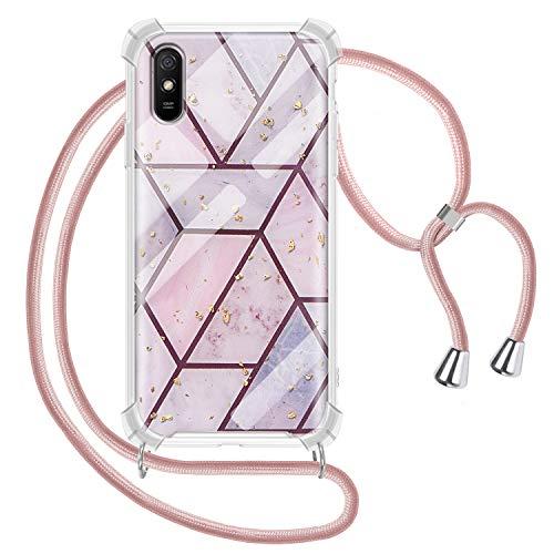 Funda con Cuerda para Xiaomi Redmi 9A, Carcasa Mármol Brillante Ultrafina Rígida PC con Correa Colgante Ajustable Collar...