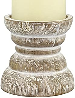 Stonebriar Antique White Wooden Pillar Candle Holder, Vintage Seaside Pillar Stand for Dining Table Centerpiece, Coffee Table, Mantel, Or Any Table Top, Small
