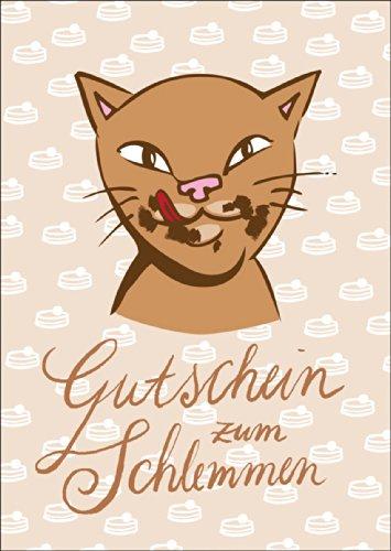 Kartenkaufrausch voucher om met brutale kat te slepen • ook voor direct verzenden met uw persoonlijke tekst als inlegger. • mooie groet vouwkaart met envelop binnen blanco voor liefdeswoorden