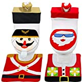 8 Pieces Christmas Toilet Seat Cover Decorations, Double Sided 3D Christmas Santa Nutcrackers Toilet Seat Lid Cover and Thicken Rug Set Christmas Decoration for Bathroom Home Indoor Xmas Decor(2 Set)