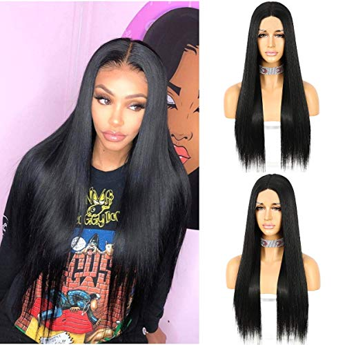 Sapphirewigs Black Color Kanekalon Futura Hair Deep T-part Lace Front Wig Long Straight Glueless Synthetic Wig Real Natural For Women 22inch