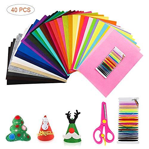 SenPuSi Filzstoff 40 Verschiedene farbige Polyester-Filzfolien waschbar Filz Blätter für DIY Handwerk Nähen Projekte (20 x 30 cm)