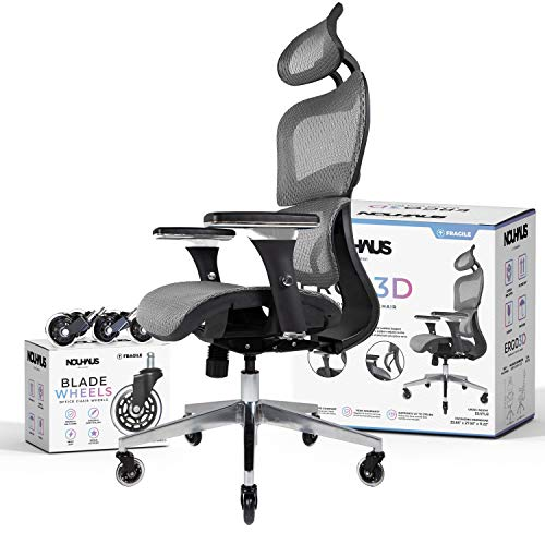 NOUHAUS Ergo3D Ergonomic Office Chair - Rolling Desk Chair with 4D Adjustable Armrest, 3D Lumbar Support and Extra Blade Wheels - Mesh Computer Chair, Gaming Chairs, Executive Swivel Chair (Grey)