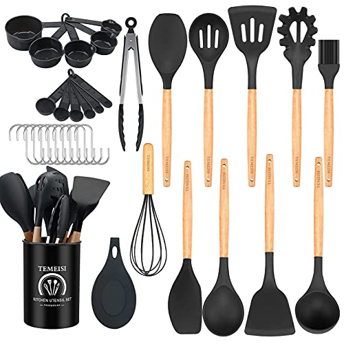 TEMEISI Kitchen Cooking Utensils Set, 34 Pcs Wooden Handles Silicone Kitchen Utensils Spatula Set with Holder, Kitchen Gadgets Set with Turner Tongs, Spatula, Spoon, Whisk, Brush (Black Gray)