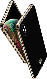 【Spigen x LA MANON】 iPhone XS Max ケース 6.5インチ 対応 軽量 薄型 光沢 艶 ストライプ おしゃれ シック デザイン Qi充電 ワイヤレス充電 エテュイ 065CS25312 (ゴールド・ブラック)