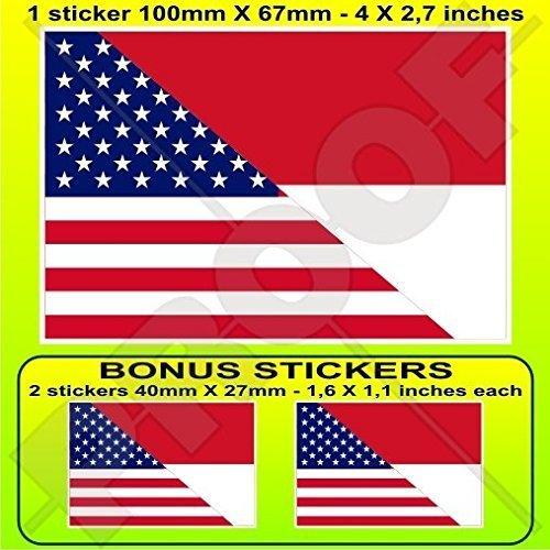 USA Vereinigte Staaten von Amerika und INDONESIEN, Amerikanisch und Indonesische Flagge, Fahne 100mm Auto & Motorrad Aufkleber, Vinyl Sticker x1+2 BONUS