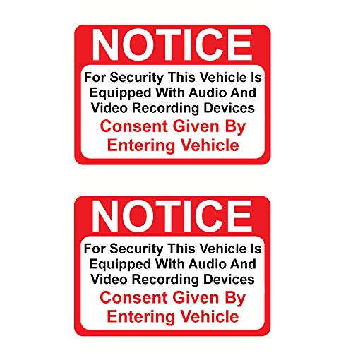 (2 Pack Magnet) Notice Vehicle is Equipped with Audio and Video Recording Devices Consent by Entering 2½ X 3½' — Indoor & Outdoor Use — UV Protected & Waterproof