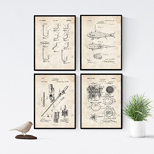 Nacnic Angelrute Patent Poster 4er-Set. Vintage Stil Wanddekoration Abbildung von Angeln und Alte Erfindungen. Verschiedene nautische Fischen Bilder ohne Rahmen. Größe A4.