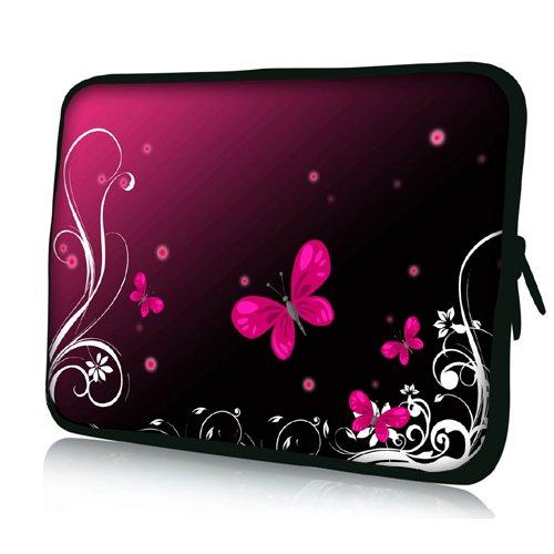 Pedea - Funda de Neopreno para Tablet o portátil (10,1'/25,6 cm), diseño de Mariposa, Color Rosa y Negro