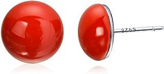 COTTON TREE 珠宝纯银镀白金红色样品耳钉