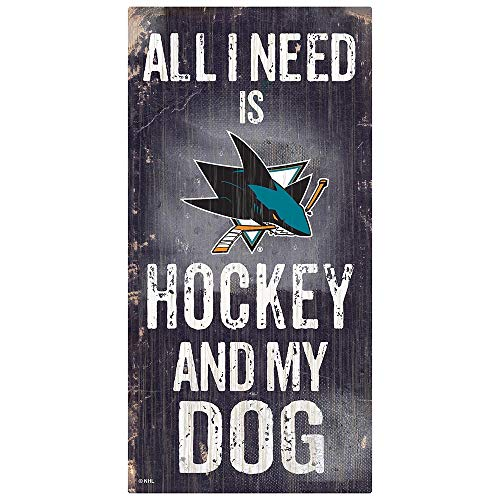 Fan Creations NHL San Jose Sharks Unisex San Jose Sharks Hockey and My Dog Sign, Team Color, 6 x 12
