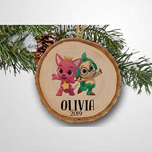 BYRON HOYLE Pink-gong and Ho-gi Christmas Ceramic Ornaments, Christmas Tree Ornament Decoration Hanging Glossy Ornaments Funny Xmas Presents Window Door Kitchen Dress up Bauble