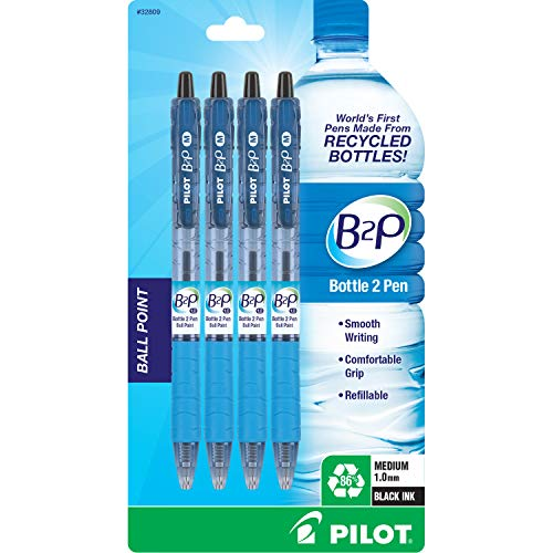 PILOT B2P - Bottle to Pen Refillable & Retractable Ball Point Pen Made From Recycled Bottles, Medium Point, Black Ink, 4-Pack (32809)