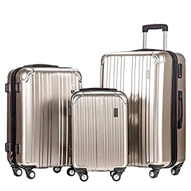 Merax Dreamy ABS+PC 3 Piece Expandable Luggage Set with TSA Lock (Silver)