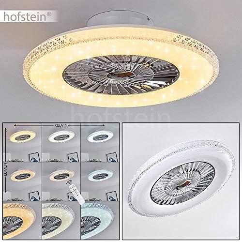 LED Deckenventilator Piacenza in Weiß/Chorm, LED Deckenleuchte mit Ventilator, 40 Watt, Ø 60 cm, dimmbar über Fernbedienung, 3000-6500 Kelvin, mit Timer-Funktion, Sternenhimmel-Effekt u. Nachtlicht