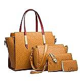 YXLYLL Las mujeres de la moda de la impresión bolsos Top cuero sintético bolso de hombro titular de la tarjeta Tote Bag Set 4pc e
