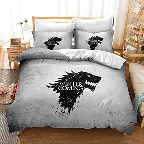 Goplnma Juego de Tronos - Juego de cama con funda de edredón y funda de almohada (200 x 200 cm, 8 unidades), diseño de Juego de Tronos