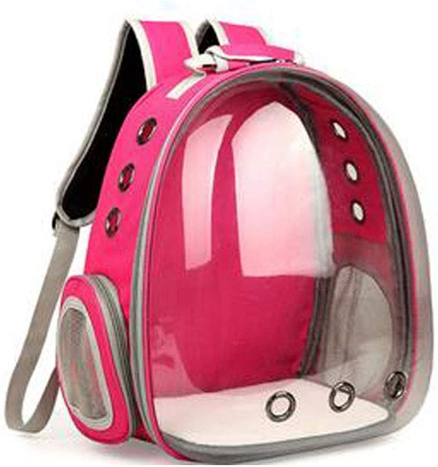 Guyuexuan A Backpack Carried Outside The Pet, The Space Capsule is Suitable for Small Dogs, Transparent Waterproof Pet Backpacks. Pet Travel Essentials (color   pink red)