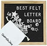 ShameOnJane Changeable 10 x10 Felt Letter Board - Oak Wood Frame - with Pre Cut Letters and Symbols for a Message Board, Letter Sign for Announcements, Menus and Home Decoration (black)