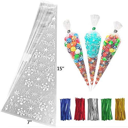 Speed Sell EU 100 Stücke Weihnachten Kegel Taschen Schneeflocken Kegel Taschen Clear Cello Treat Taschen Popcorn Taschen mit 200 Stücke Drehung Krawatten für Süßigkeiten Cookie Lagerung 7 x 15 Zoll