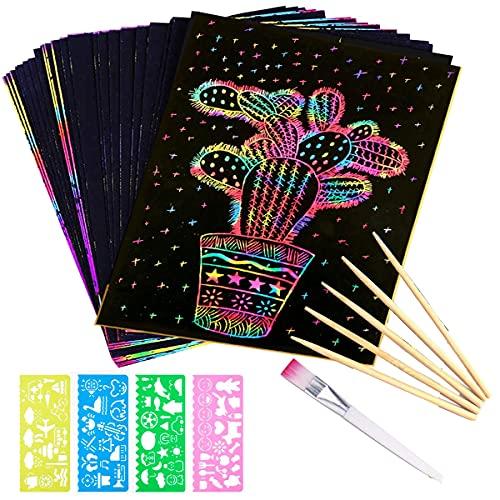 MINGJING Kratzbilder Set für Kinder,Kratzpapier Set, 50 Große Blätter Regenbogen Kratzpapier zum Zeichnen und Basteln | mit Schablonen, Holzstiften und Stickern (13 x 19cm)